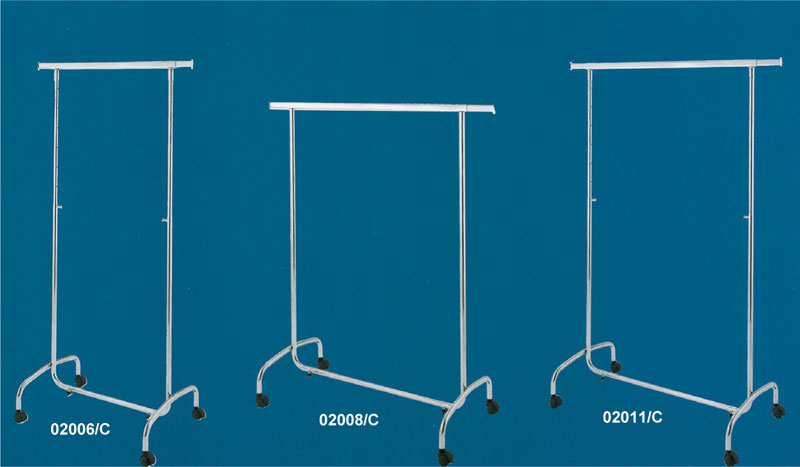 Floor standing mirror, rolling garment racks and chrome-plated stands
