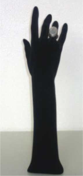 Black flocked female ring display hand