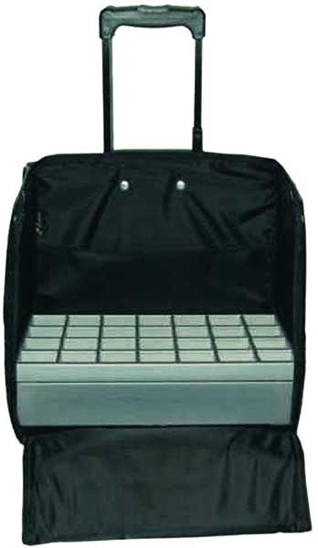 Jewellery travel case with black waterproof padding and wheel