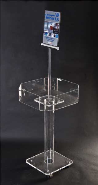 Clear plexiglass promotional display stand with card holder and casters