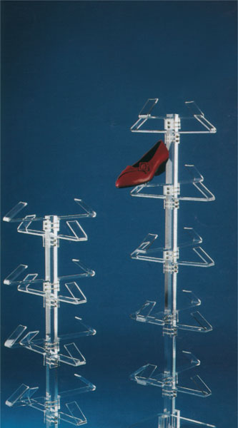 Plexiglass footwear display stand with 16/20 holders