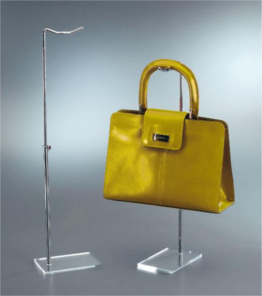 Adjustable handbag display with clear plexiglass base