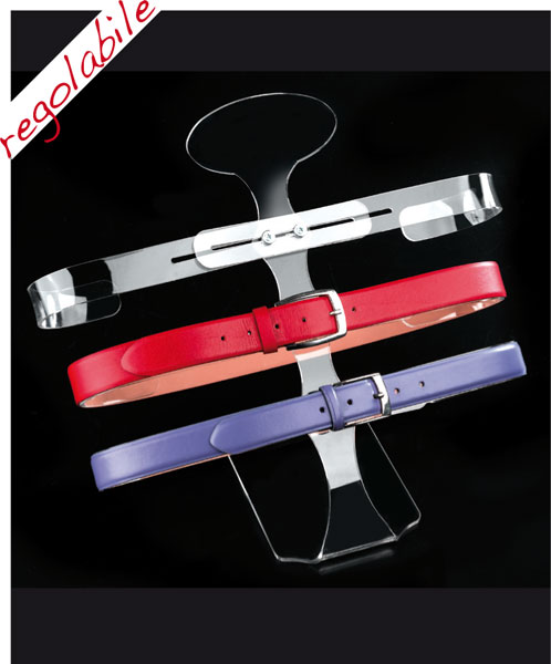 Adjustable plexiglass belt display with 3 holders