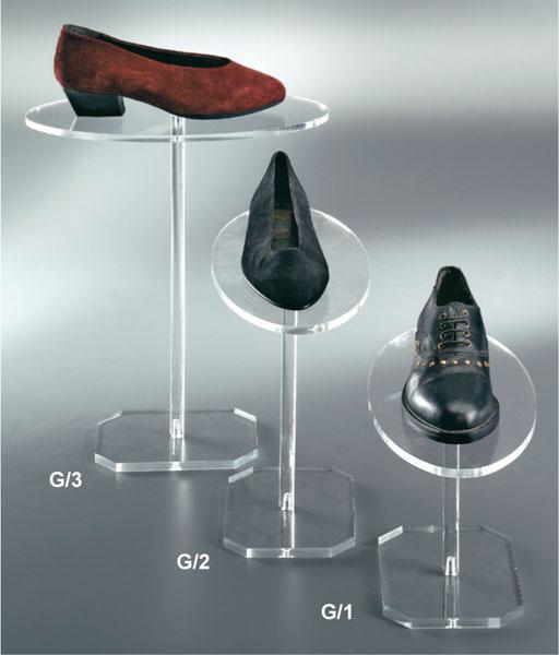 Espositore alzascarpe ovale in plex trasparente