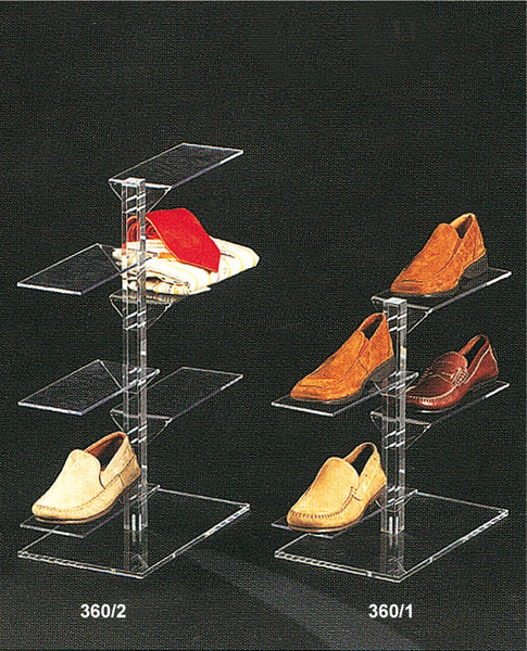 Clear plexiglass footwear display stand with rectangular shelves