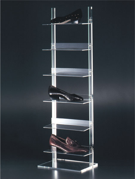 Clear plexiglass shelf unit display