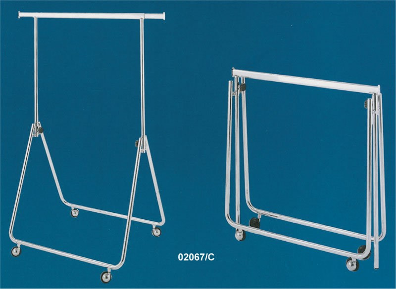 Chrome-plated compact folding garment rack with casters