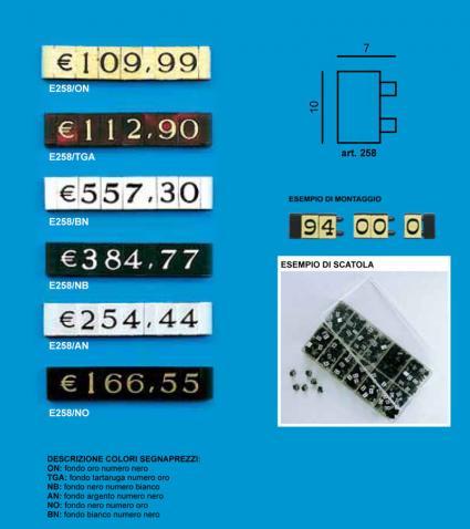 Price tag e/258