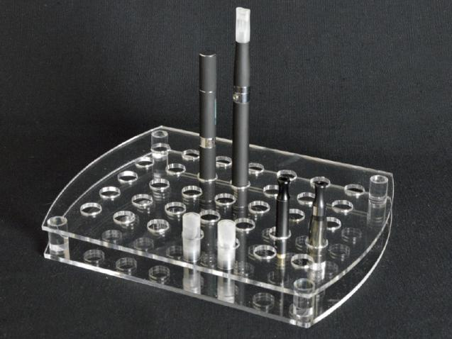 Clear plexiglass electronic cigarette and atomizer display stand with 35 holes
