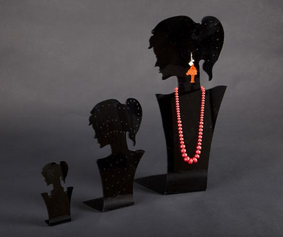 Black plexiglass earring/necklace display