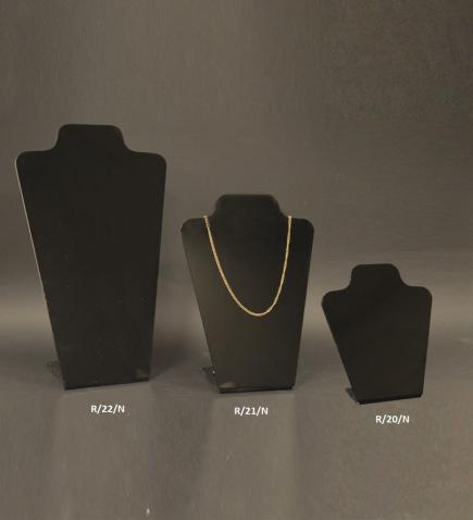 Black plexiglass necklace display