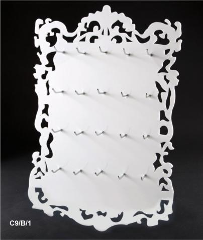 Wall mounted display with 20 hooks and frame (available colours: white/black)