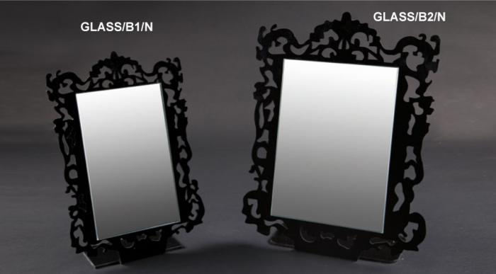 Countertop mirror with white/black plexiglass frame