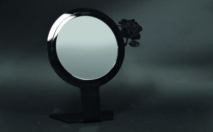 Specchio da banco con rosa