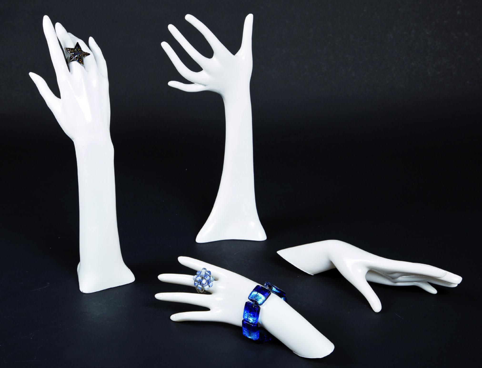Jewellery, costume jewellery and glove display hands