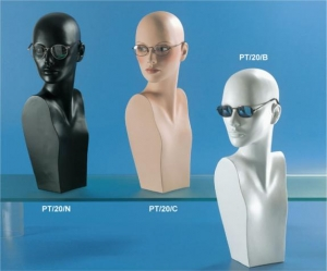 Matt plastic display bust