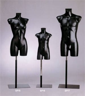 Headless and armless full torso form with metal stand