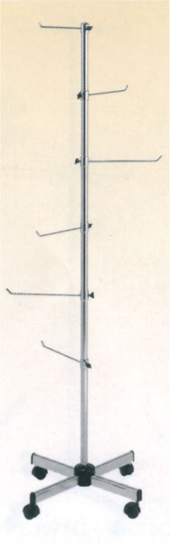 Chrome-plated display stand with 6 linear arms and casters