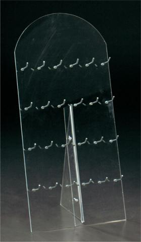 Clear plexiglass key-chain display with 24 hooks