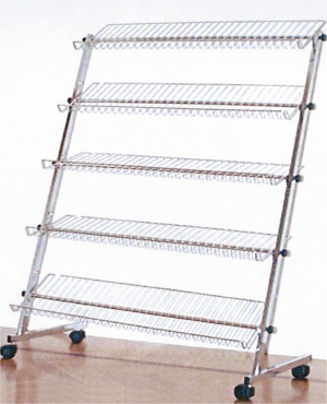 Chrome-plated shoe rack with 5 shelves and casters