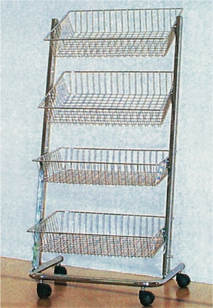 Chrome-plated shoe rack with 4 adjustable baskets