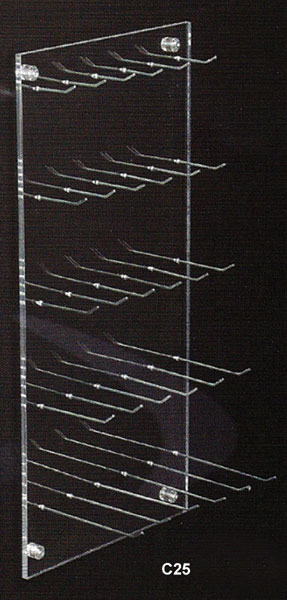 Wall mounted display with 25 hooks