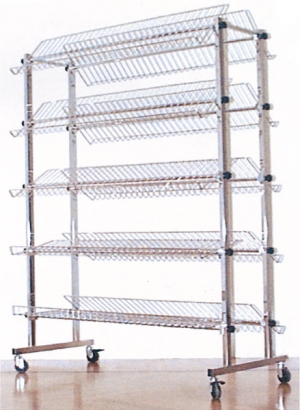 Chrome-plated double shoe rack with 10 shelves and casters