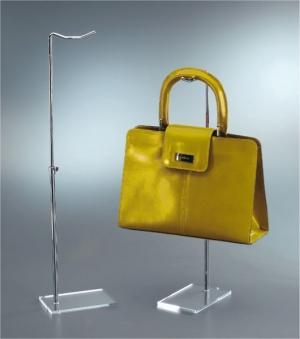 Espositore per borse con base in plex trasparente