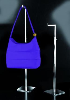 Espositore per borse cromato regolabile in altezza