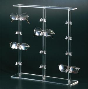 Countertop plexiglass eyewear display stand with 12 holders