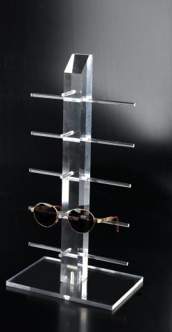 Clear plexiglass eyewear display with 5 holders
