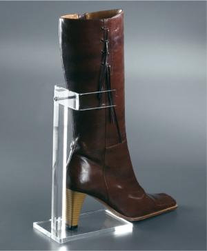 Clear plexiglass boot display stand