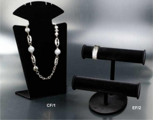 Black flocked necklace/earring/bracelet display