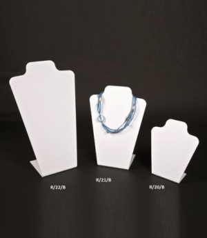 White plexiglass necklace display