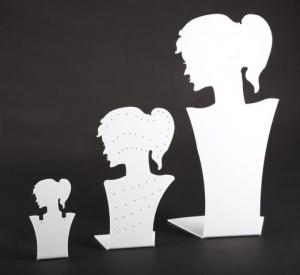 White plexiglass earring/necklace display