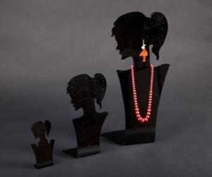 Black plexiglass earring/necklace display