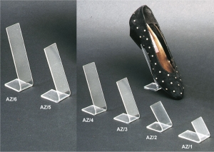 Clear plexiglass heeled-shoe display riser