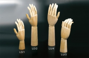 Wooden hands for gloves, articulated fingers, articulated wrist