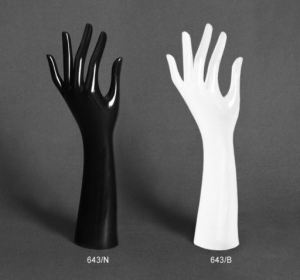 Gloss plastic ring/glove display hand