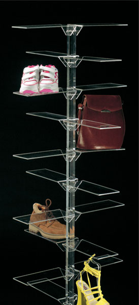 Plexiglass footwear/leather goods display stand with 20 rectangular shelves