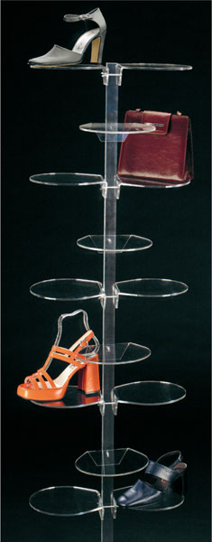 Plexiglass footwear/leather goods display stand with 20 round shelves