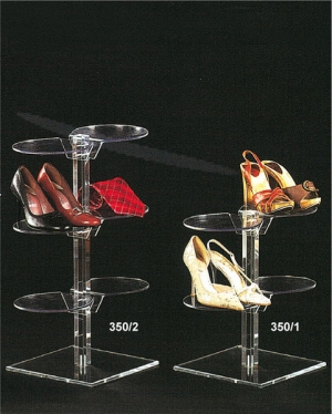 Clear plexiglass footwear display stand with round shelves