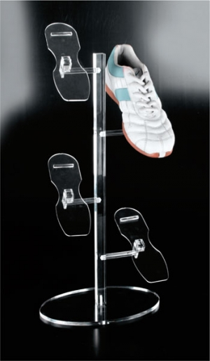 Clear plexiglass footwear display stand with 4 adjustable holders