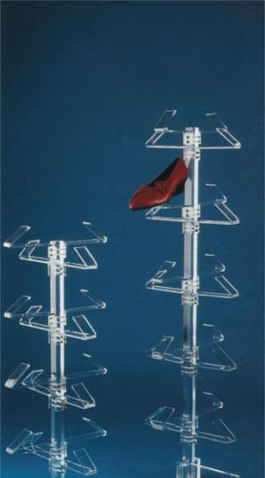 Plexiglass footwear display stand with 16/20 holders