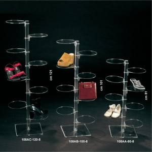 Plexiglass footwear/leather goods display stand with 8 round shelves
