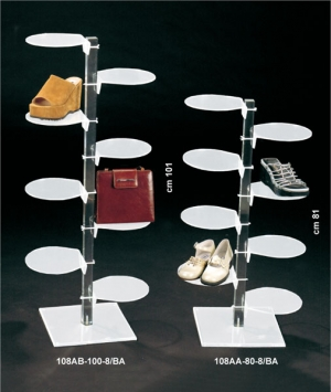 White plexiglass footwear display stand with 8 round shelves