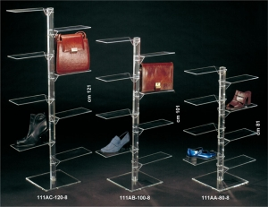 Plexiglass footwear/leather goods display stand with 8 rectangular shelves