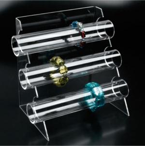 Clear plexiglass three-tier bracelet/watch display