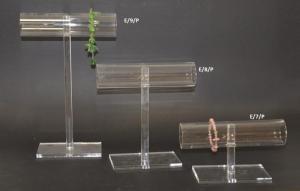Clear plexiglass t-bar bracelet display stand - 5cm diameter