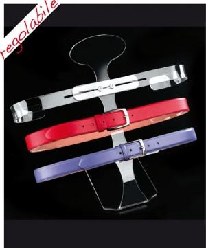 Adjustable plexiglass belt display with 3 holders